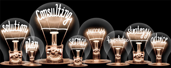 Light bulbs spelling out solution, plan, consulting etc